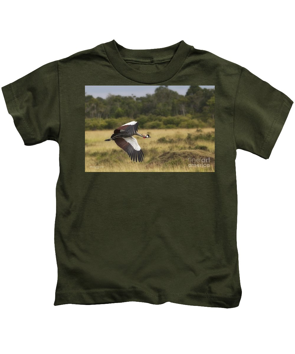 Africa Kids T-Shirt featuring the photograph African Crowned Crane by Timothy Hacker