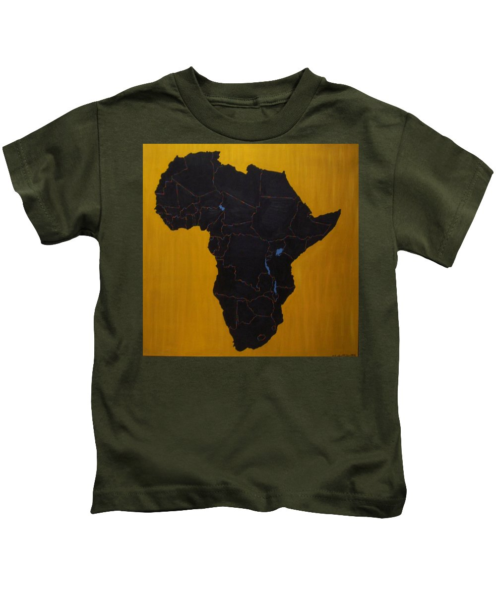 Africa Kids T-Shirt featuring the painting Afrika by Leslye Miller