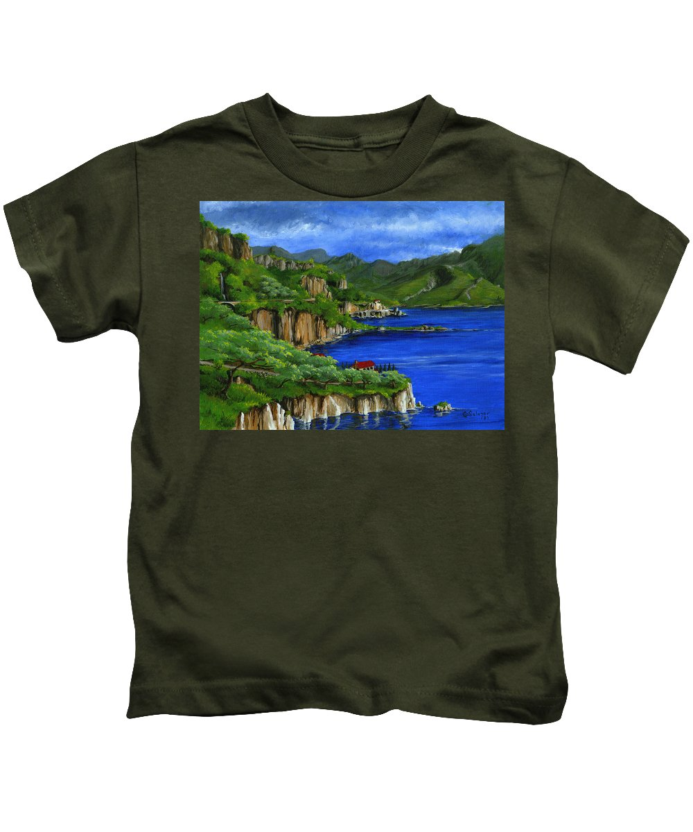 Italy Kids T-Shirt featuring the painting Al Mafi Coast Italy by Carlene Salazar