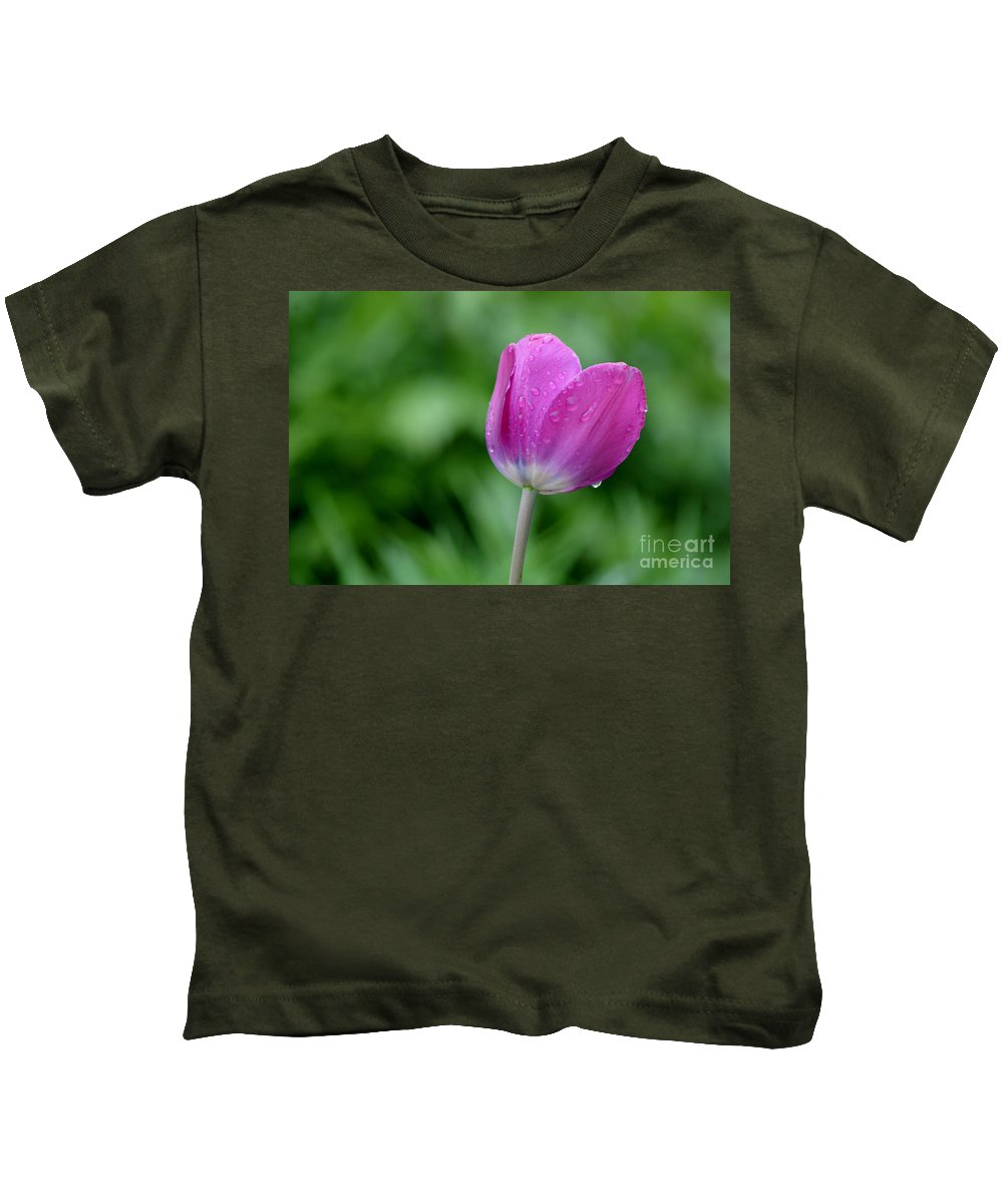 Tulip Kids T-Shirt featuring the photograph All By Myself by Living Color Photography Lorraine Lynch