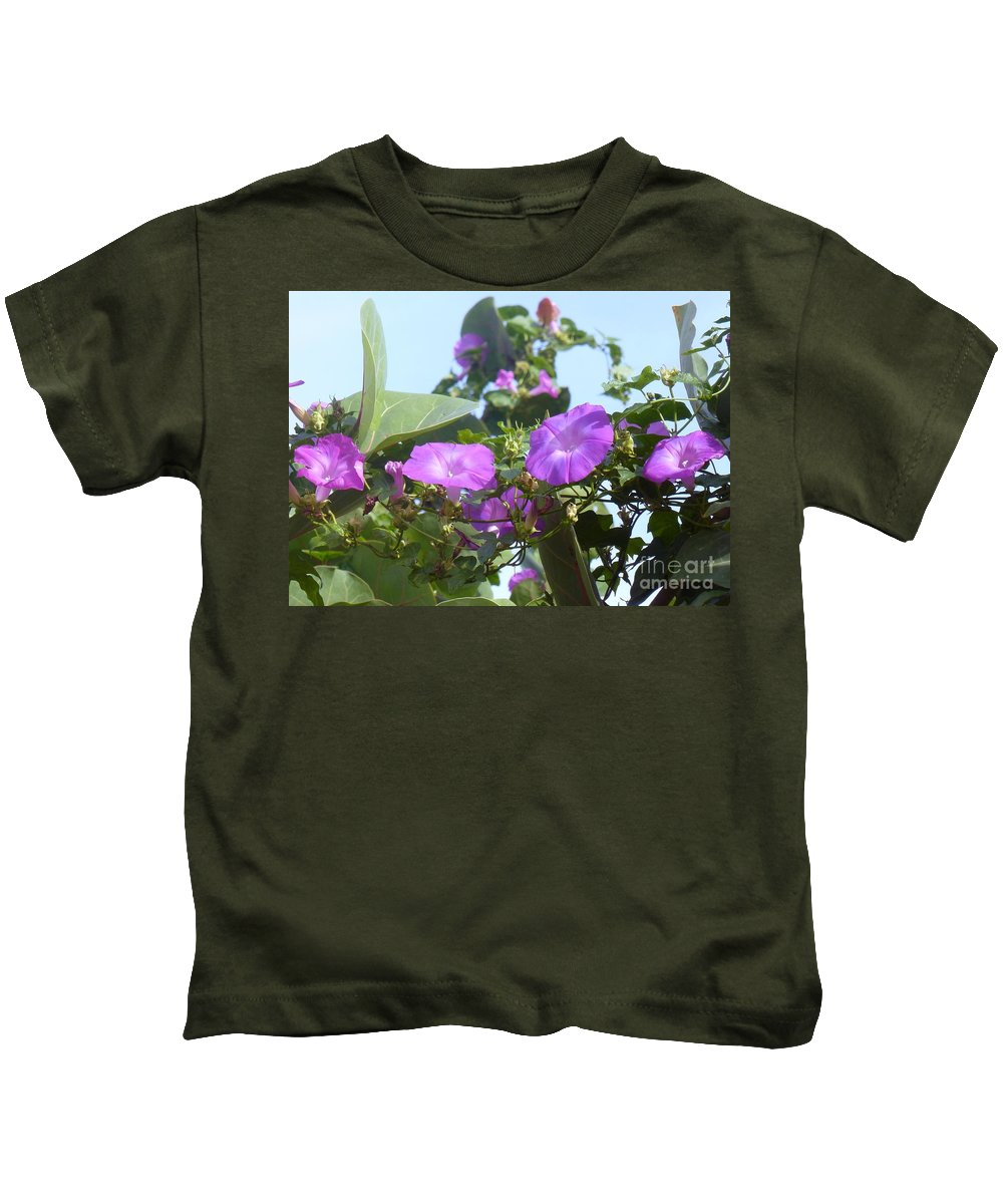 Morning Glory Kids T-Shirt featuring the photograph All In A Row by Barbie Corbett-Newmin