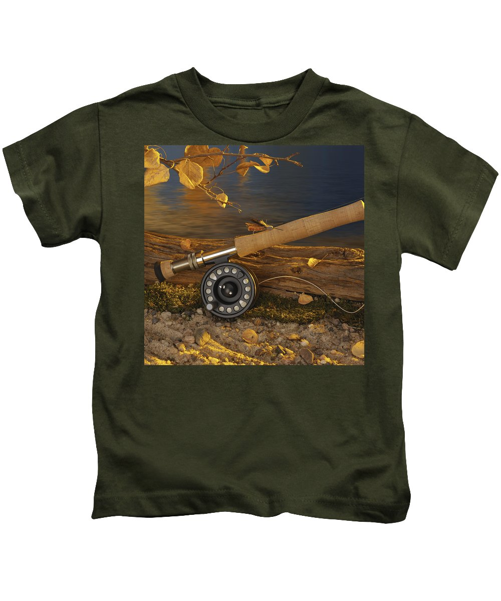 Fishing Kids T-Shirt featuring the photograph Along The Stream by Jerry McElroy