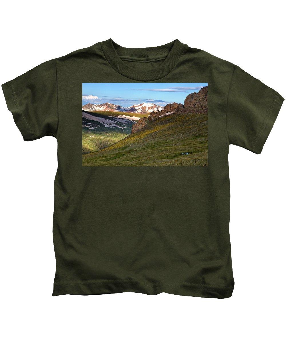 Rmnp Kids T-Shirt featuring the photograph Along Trail Ridge Road by Ronda Kimbrow