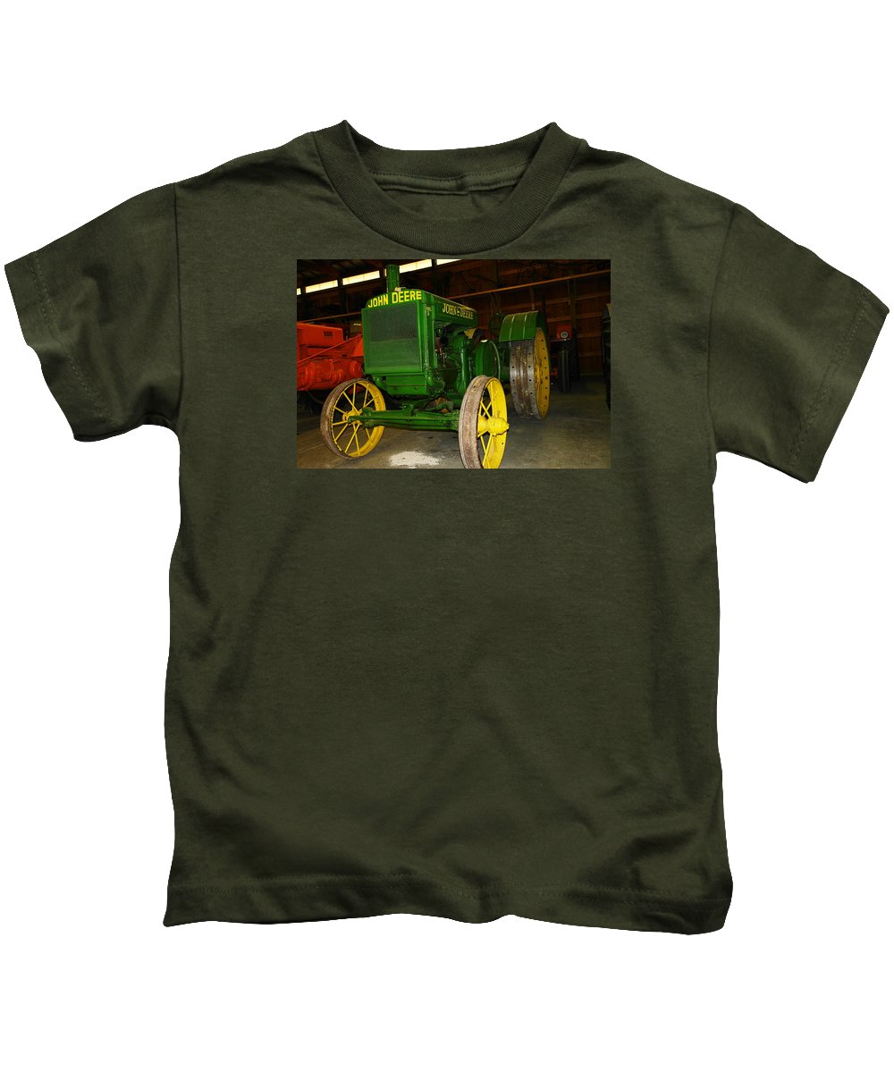 Tractor Kids T-Shirt featuring the photograph An Old Restored John Deere by Jeff Swan