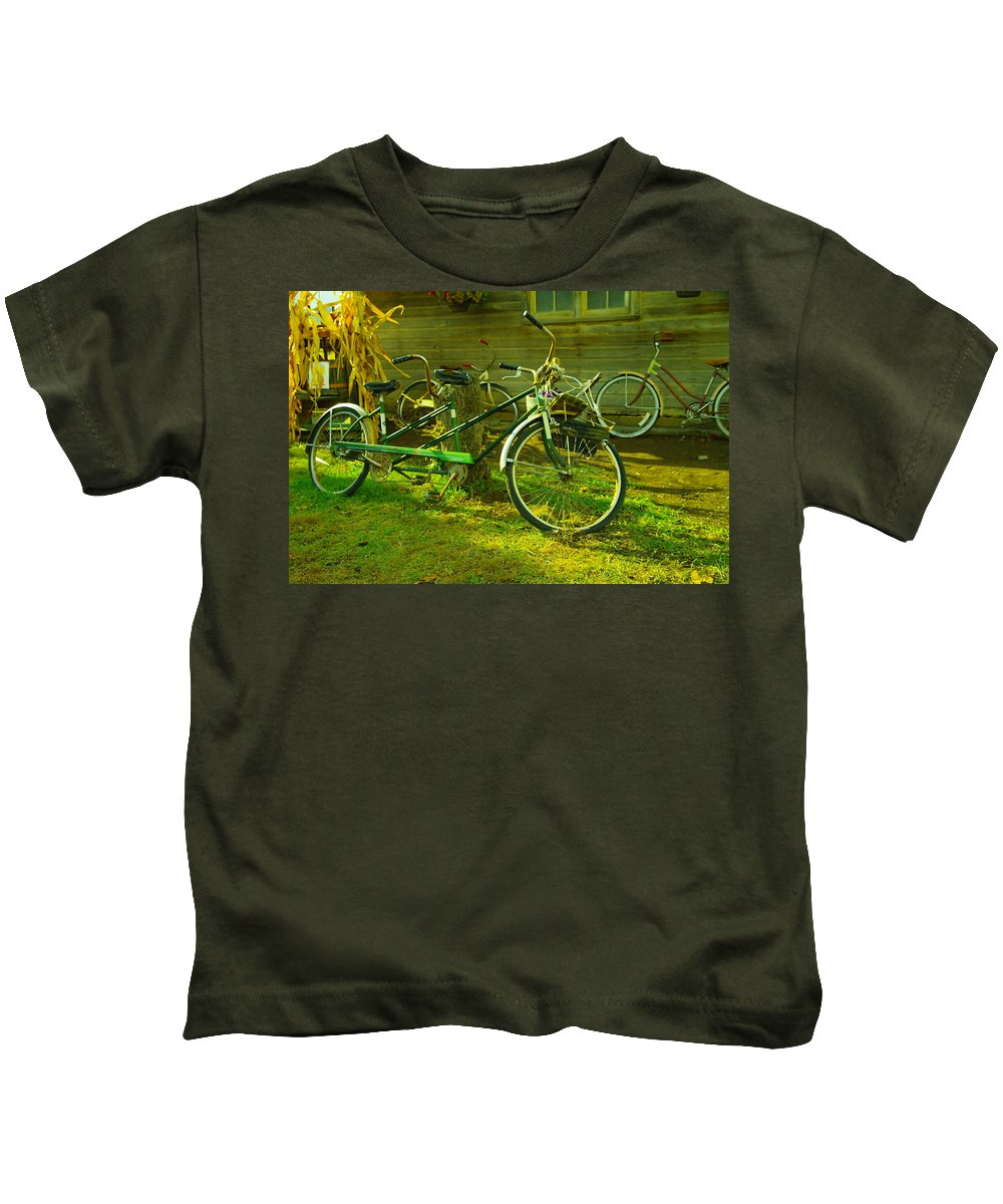 Bike Kids T-Shirt featuring the photograph An Old Two Seater by Jeff Swan