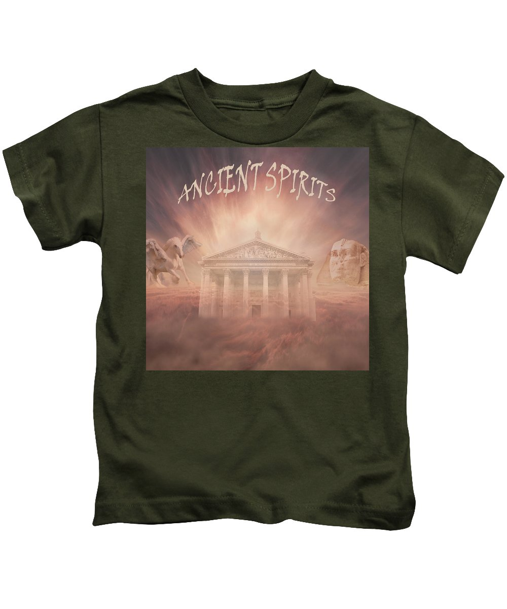 Fine Art Kids T-Shirt featuring the digital art Ancient Spirits by Torie Tiffany