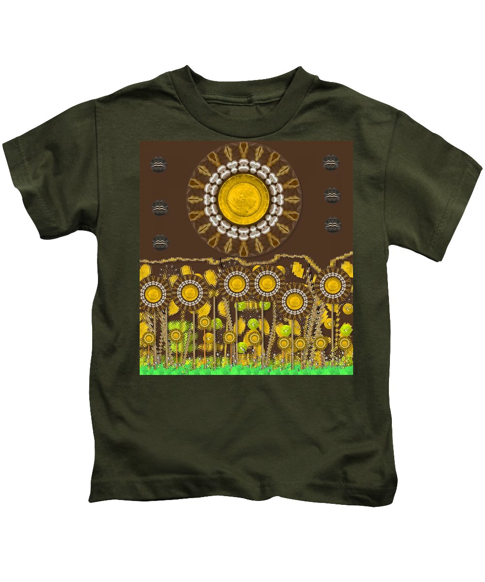 Landscape Kids T-Shirt featuring the mixed media And The Sun Started To Shine Pop Art by Pepita Selles