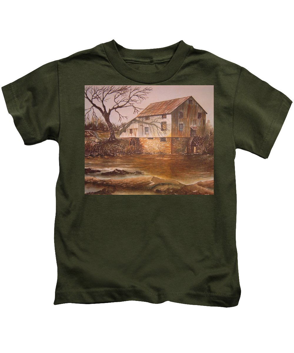 Landscape Kids T-Shirt featuring the painting Anderson Mill by Ben Kiger