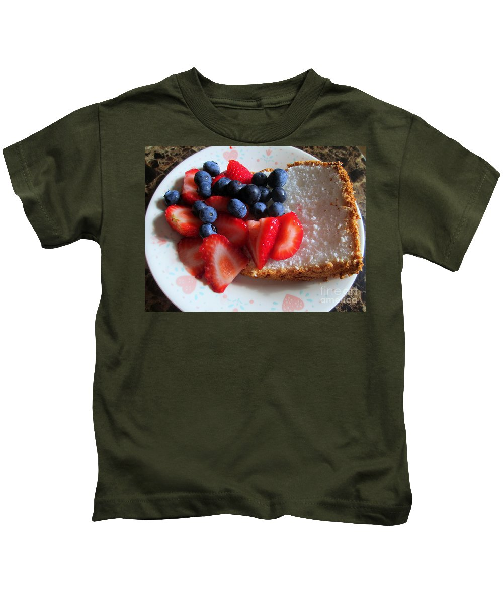 Angle Food Kids T-Shirt featuring the photograph Angel Food And The Berries by Kay Novy