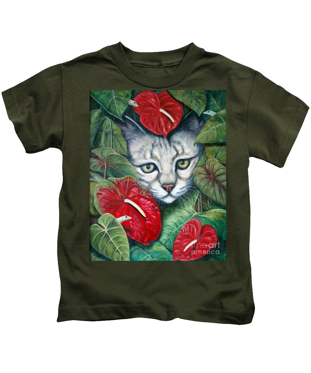 Cat Kids T-Shirt featuring the painting Anthurium Assassins by Joey Nash