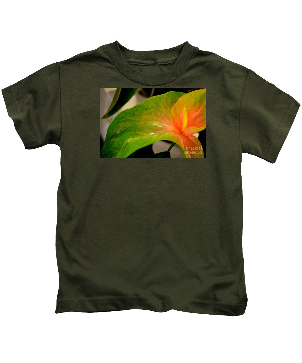 Anthurium Kids T-Shirt featuring the photograph Anthurium In Red And Green by Mary Deal