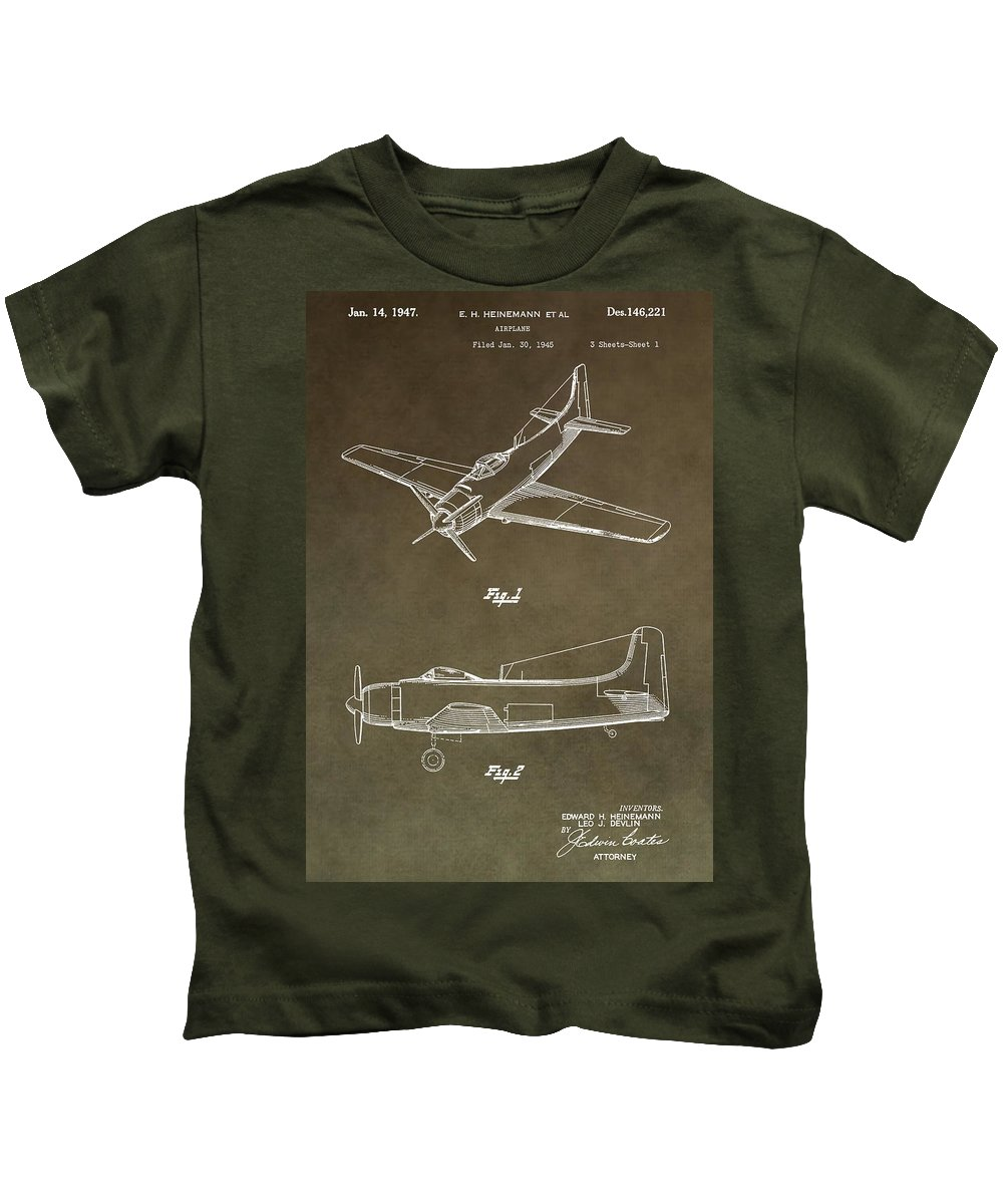1947 Airplane Patent Kids T-Shirt featuring the digital art Antique Airplane Patent by Dan Sproul