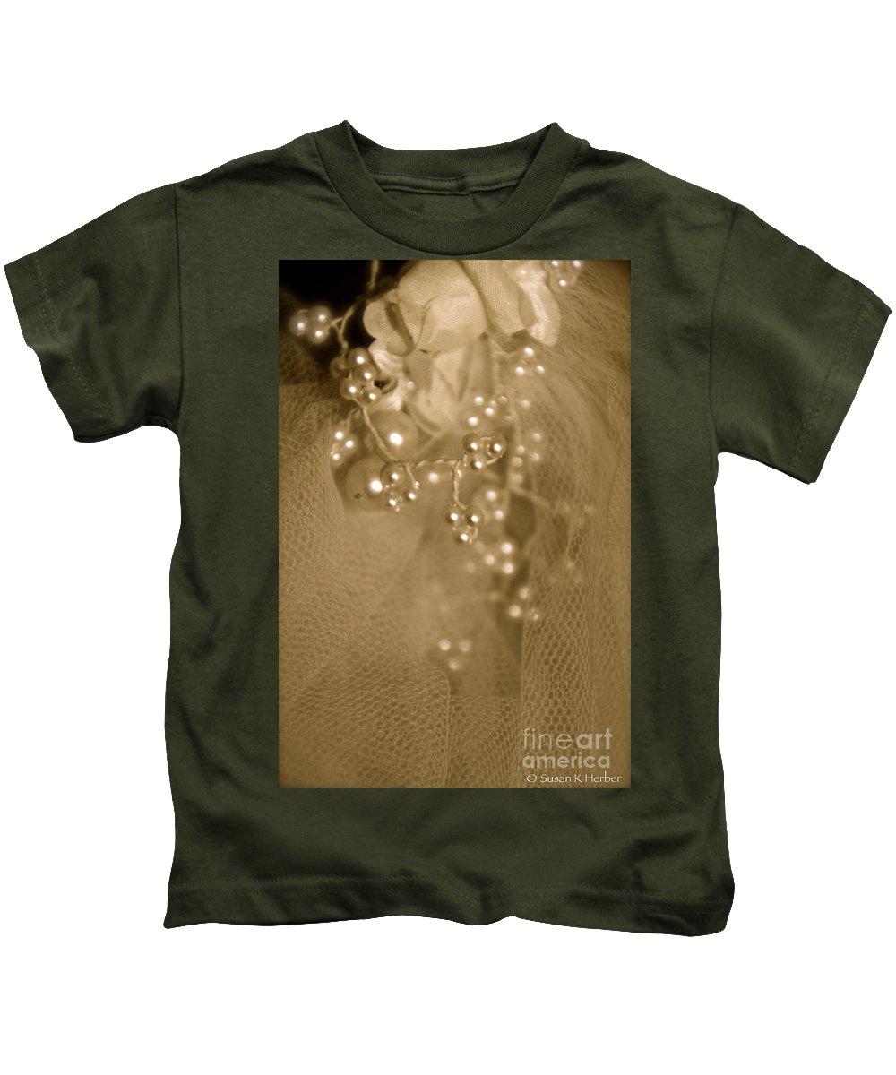Wedding Veil Kids T-Shirt featuring the photograph Antique Veil by Susan Herber