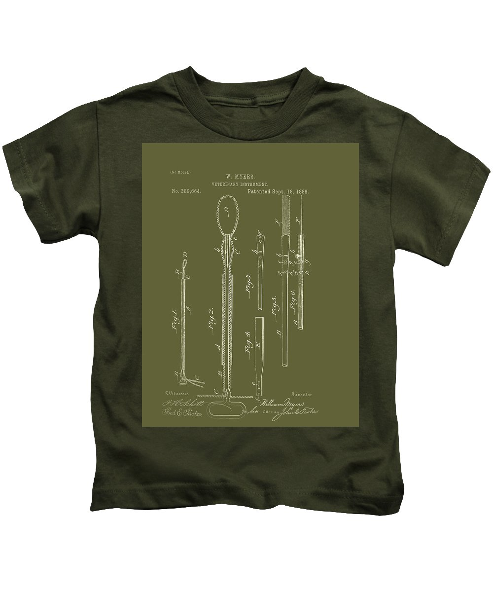 Patent Kids T-Shirt featuring the drawing Antique Veterinary Instrument Patent 1888 by Mountain Dreams