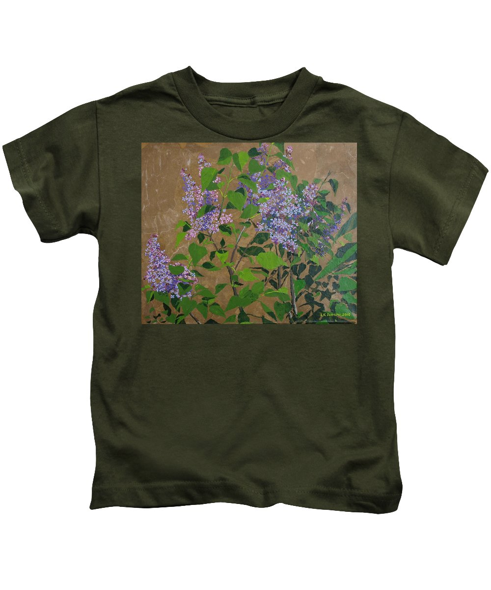 Lilacs Kids T-Shirt featuring the painting April Lilacs by Leah Tomaino