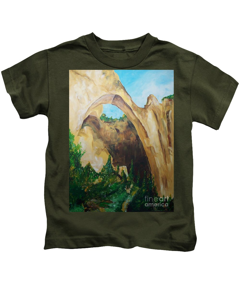 Floral Kids T-Shirt featuring the painting Arch by Eric Schiabor