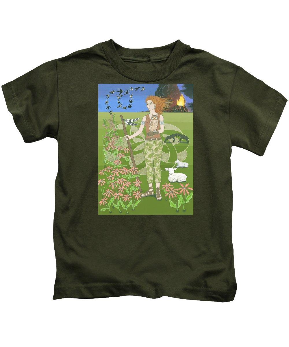 Aries Kids T-Shirt featuring the painting Aries by Karen MacKenzie