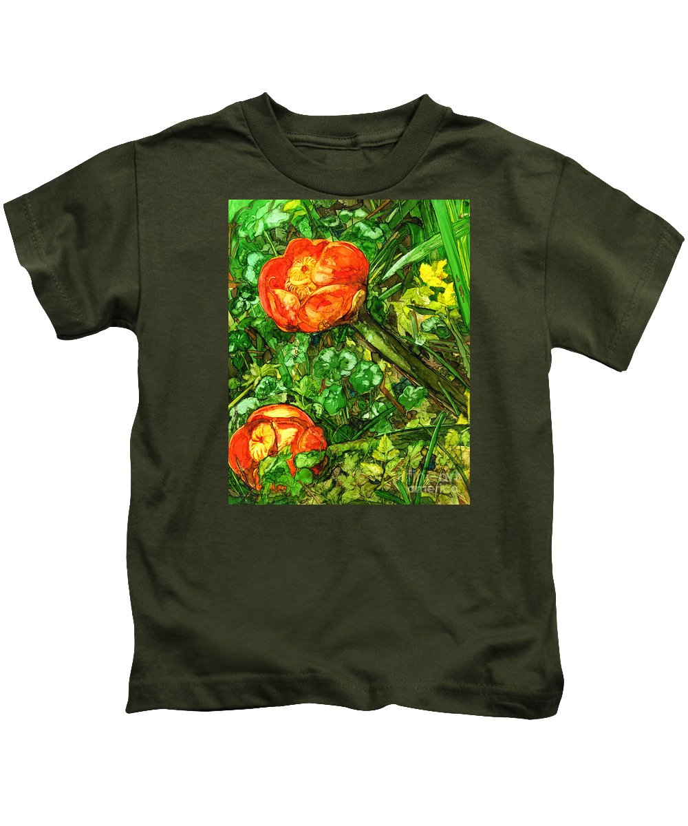 Floral Kids T-Shirt featuring the painting At The Pond's Edge by Vicki Baun Barry