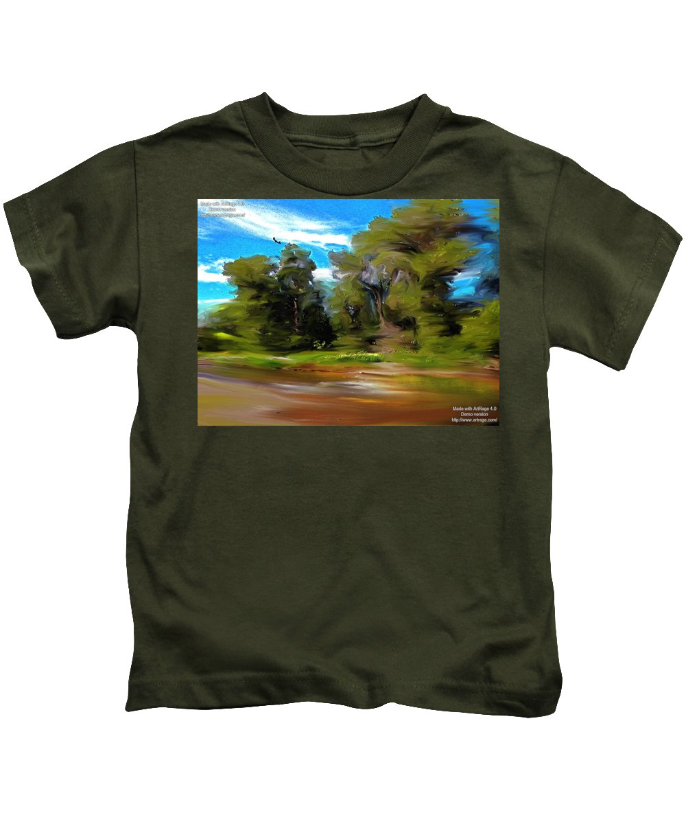 Impression Kids T-Shirt featuring the digital art At The River's Edge by Lenore Senior