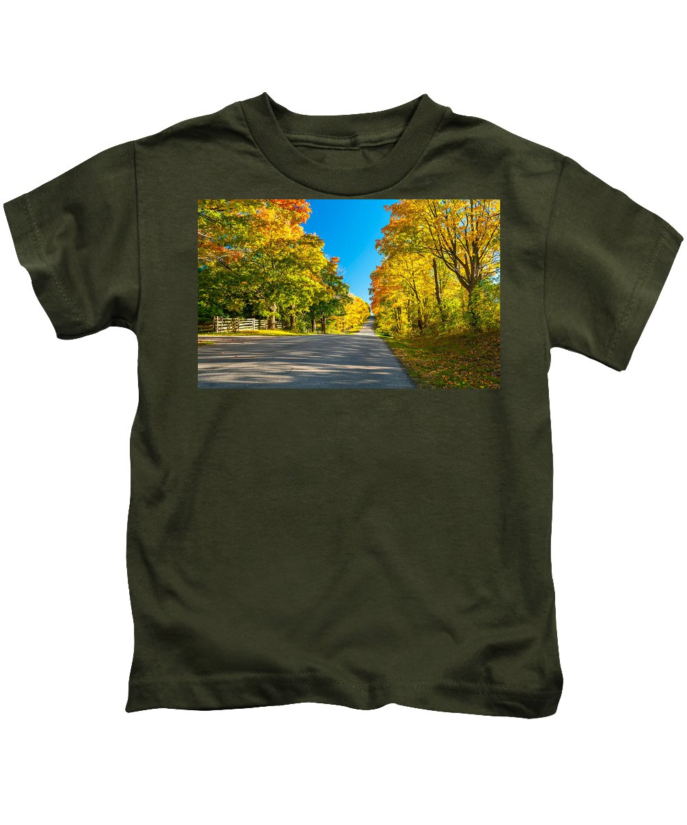 Maples Kids T-Shirt featuring the photograph Autumn Back Road by Steve Harrington