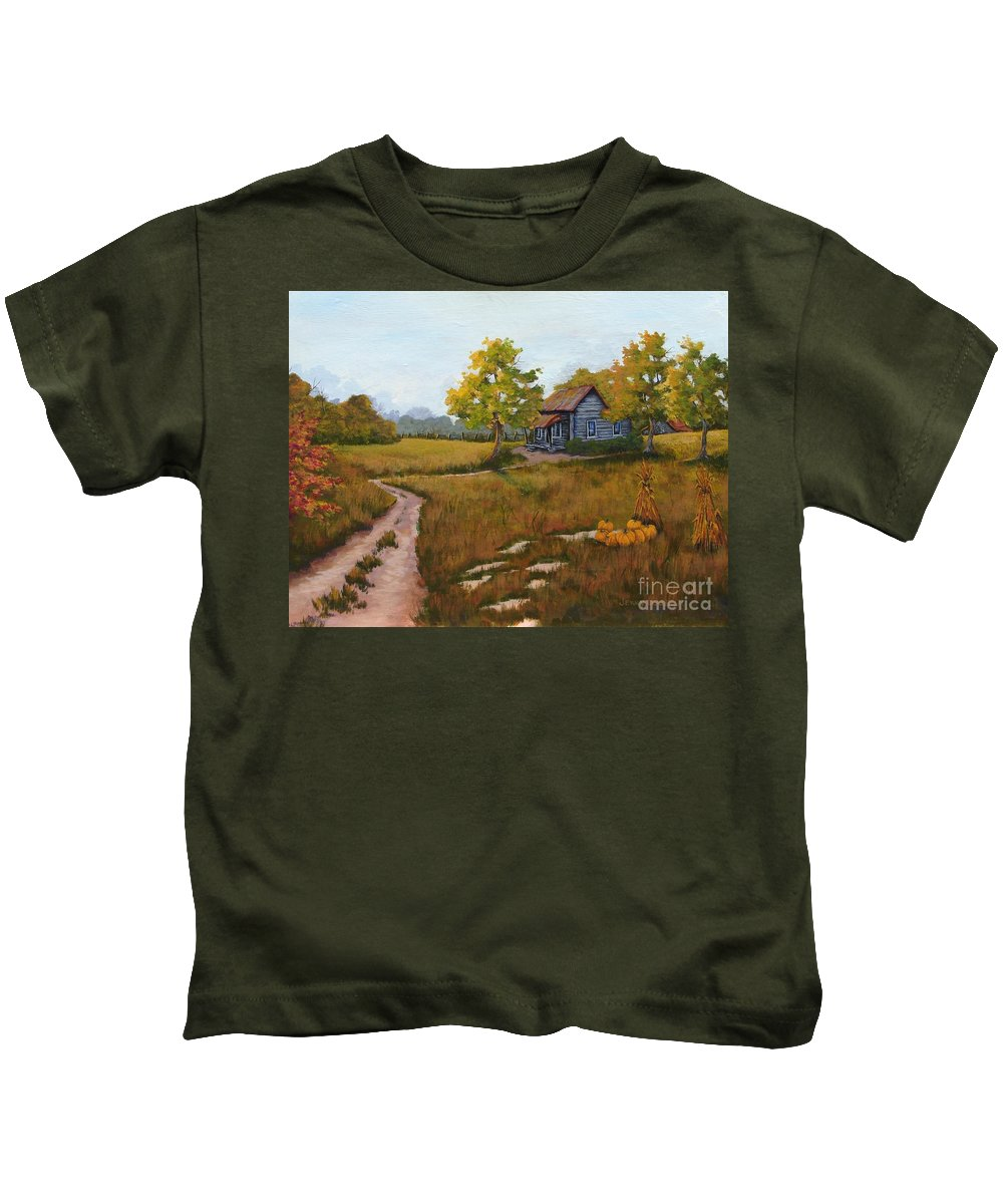 Landscape Kids T-Shirt featuring the painting Autumn Harvest by Jerry Walker