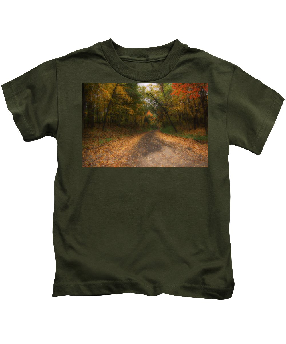 Michigan Kids T-Shirt featuring the photograph Autumn Road by Gary Richards