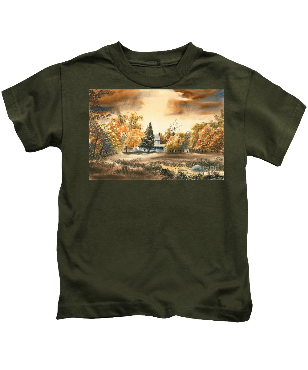 Autumn Sky No W103 Kids T-Shirt featuring the painting Autumn Sky No W103 by Kip DeVore