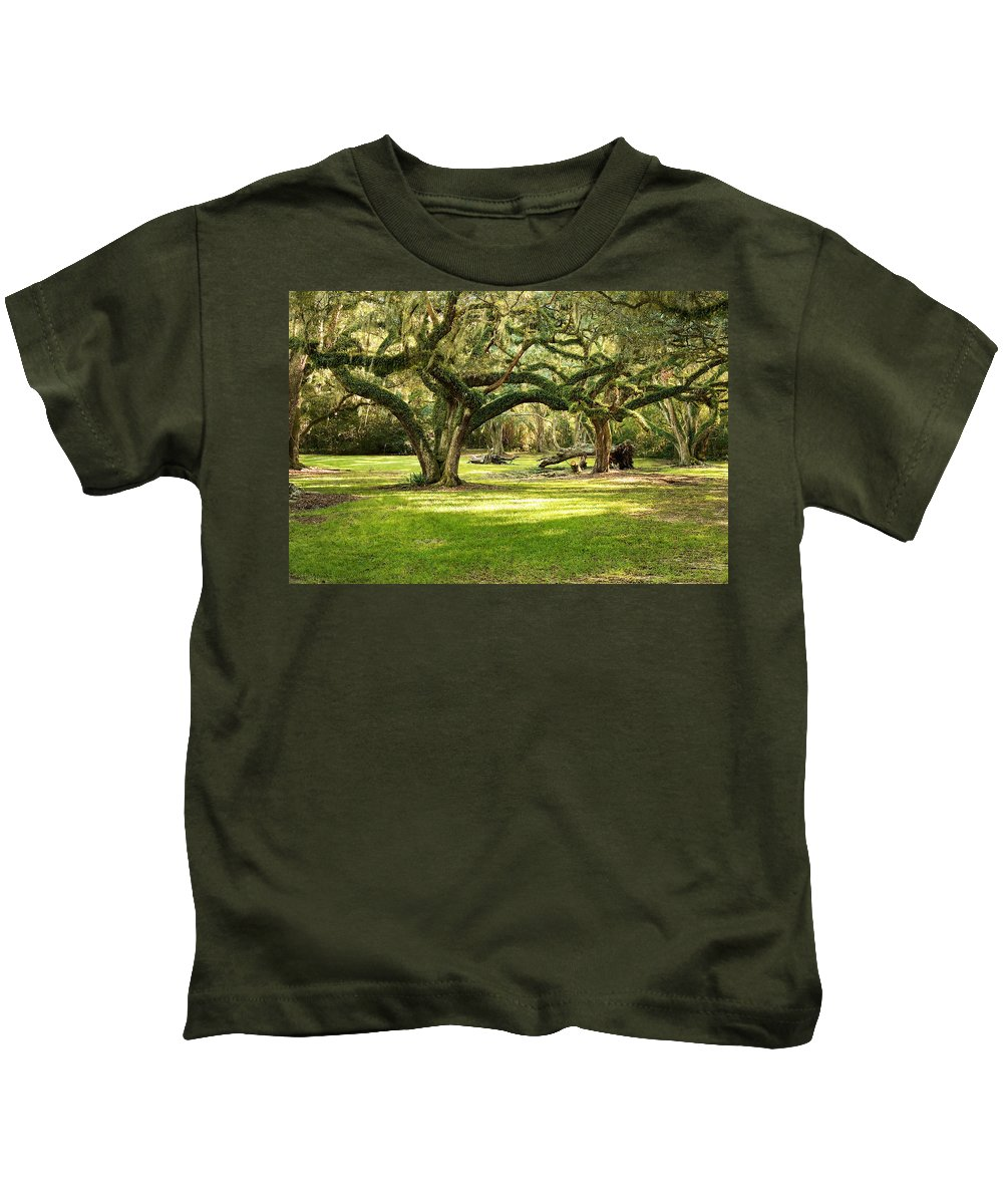 Oak Trees Kids T-Shirt featuring the photograph Avery Island Oaks by Scott Pellegrin