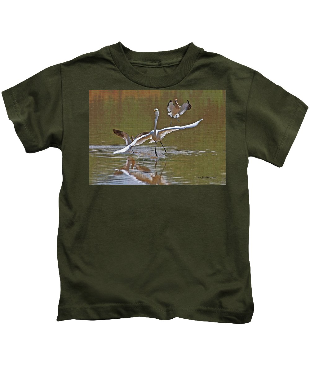 Avocets Kids T-Shirt featuring the photograph Avocets Chase Off The Egret by Tom Janca