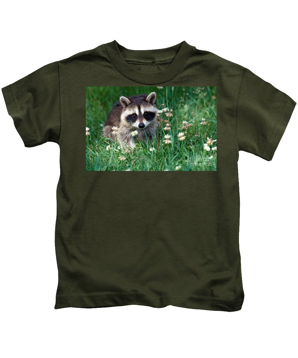 Raccoon Kids T-Shirt featuring the photograph Baby Raccoon by Jeanne White