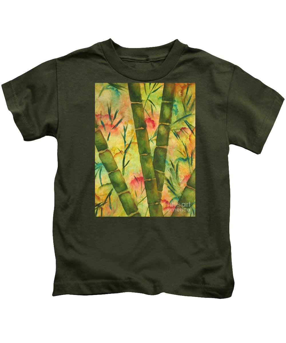 Fine Art Painting Kids T-Shirt featuring the painting Bamboo Garden by Chrisann Ellis