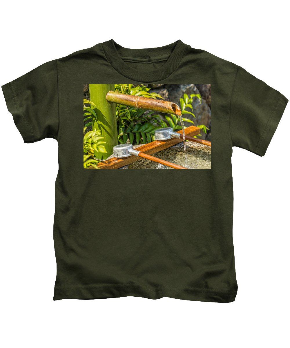 Japanese Kids T-Shirt featuring the photograph Bamboo Spout by Jonah Anderson
