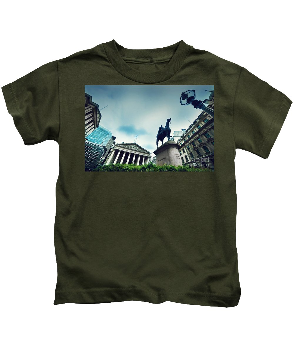 Finance Kids T-Shirt featuring the photograph Bank Of England The Royal Exchange And The Wellington Statue Londonuk by Michal Bednarek