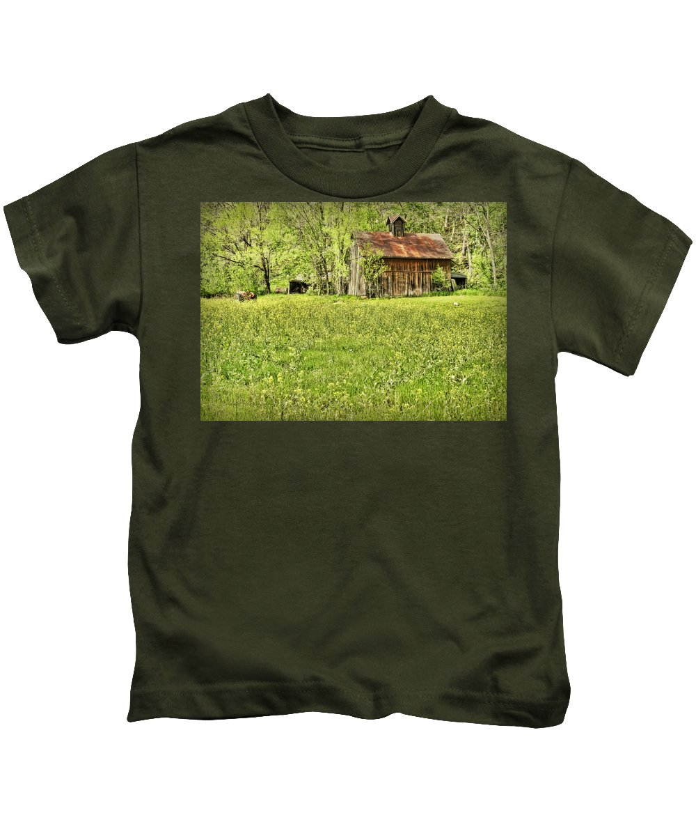 Barn Kids T-Shirt featuring the photograph Barn In Wild Turnips by Cricket Hackmann