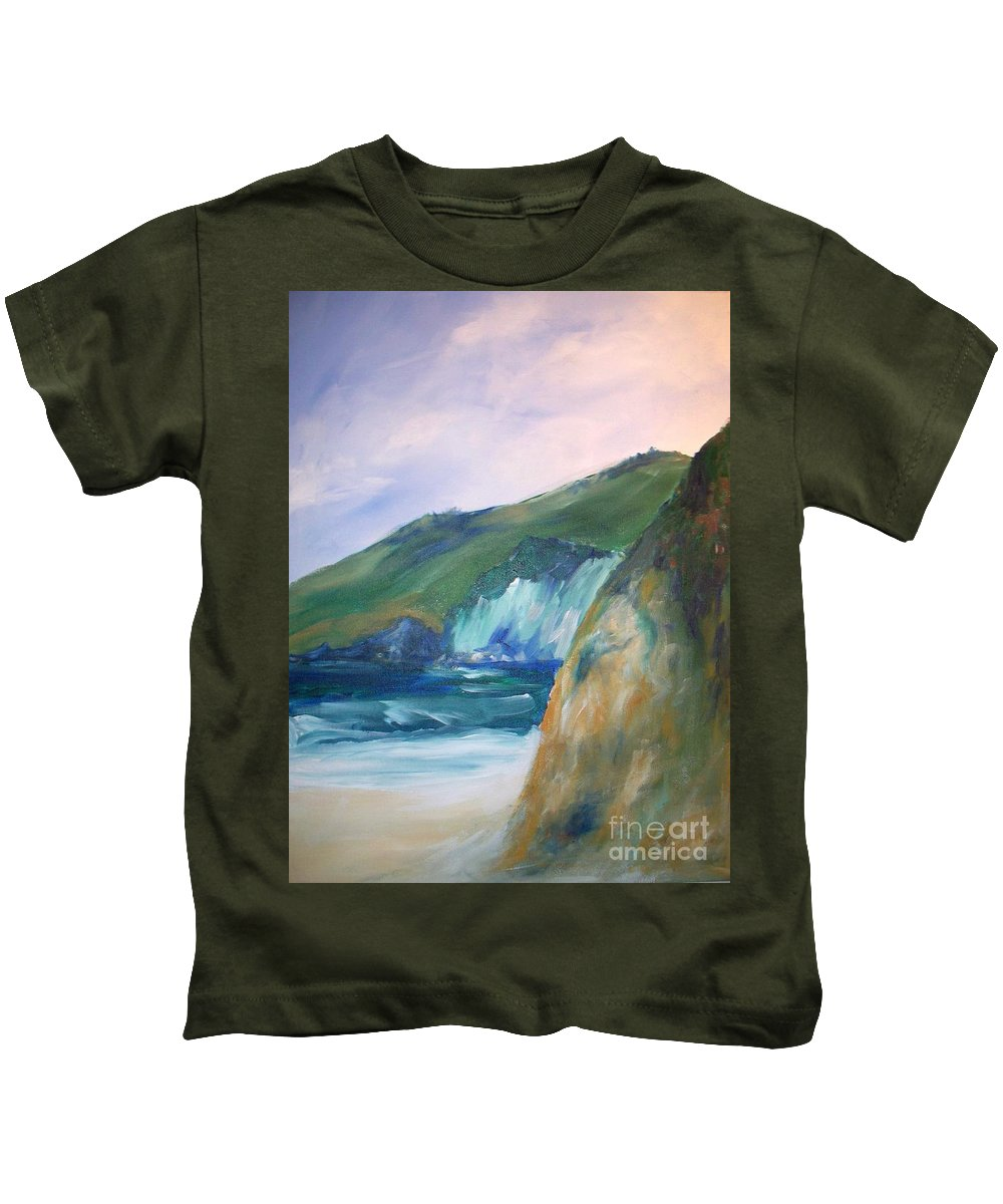 California Coast Kids T-Shirt featuring the painting Beach California by Eric Schiabor
