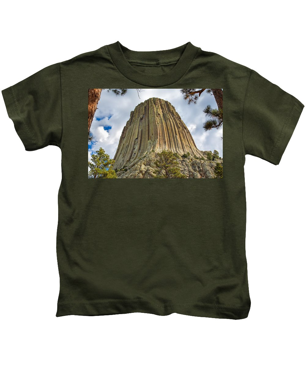 Landscape Kids T-Shirt featuring the photograph Bear Lodge National Historic Landmark by John M Bailey