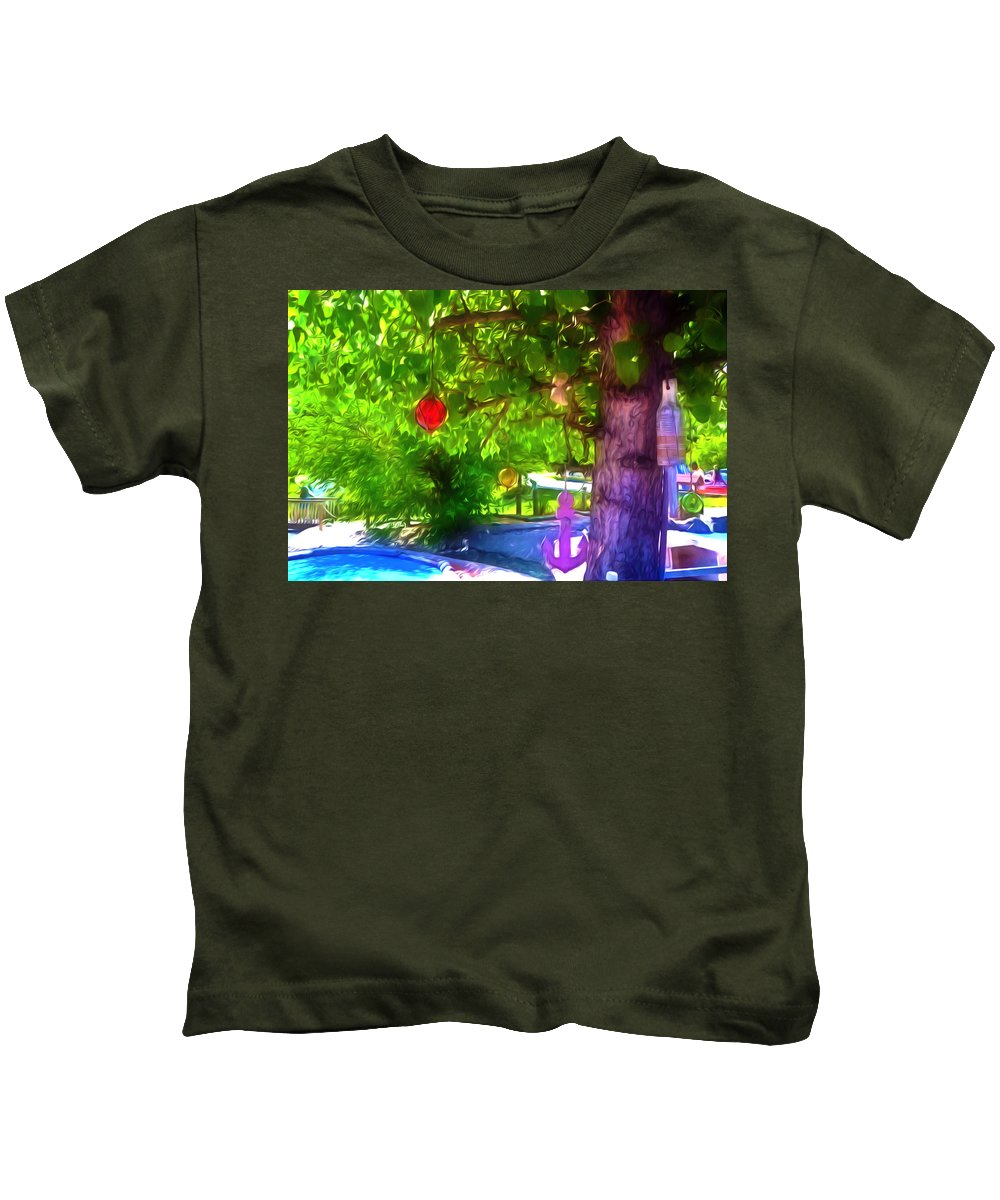 Beautiful Colored Glass Ball Hanging On Tree Kids T-Shirt featuring the painting Beautiful Colored Glass Ball Hanging On Tree 1 by Jeelan Clark