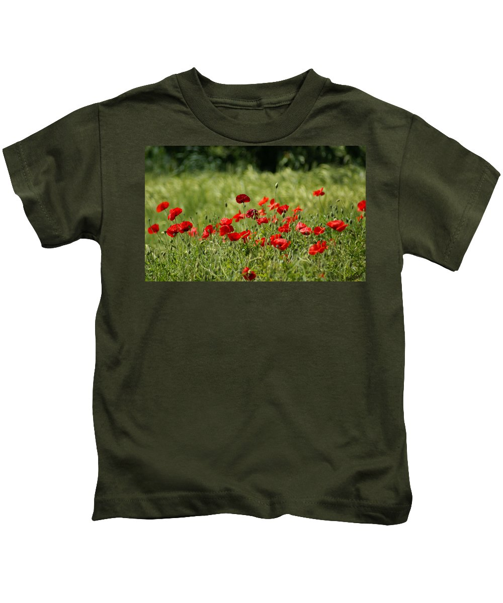 Poppies Kids T-Shirt featuring the photograph Beautiful Poppies 3 by Carol Lynch