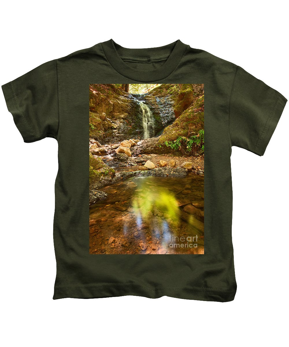 Uvas Canyon County Park Kids T-Shirt featuring the photograph Beautiful View Of Upper Falls Located In Uvas Canyon County Park Forest Reflection by Jamie Pham