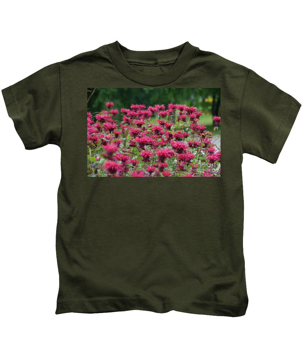 Flower Kids T-Shirt featuring the photograph Bee Balm Bounty by Susan Herber