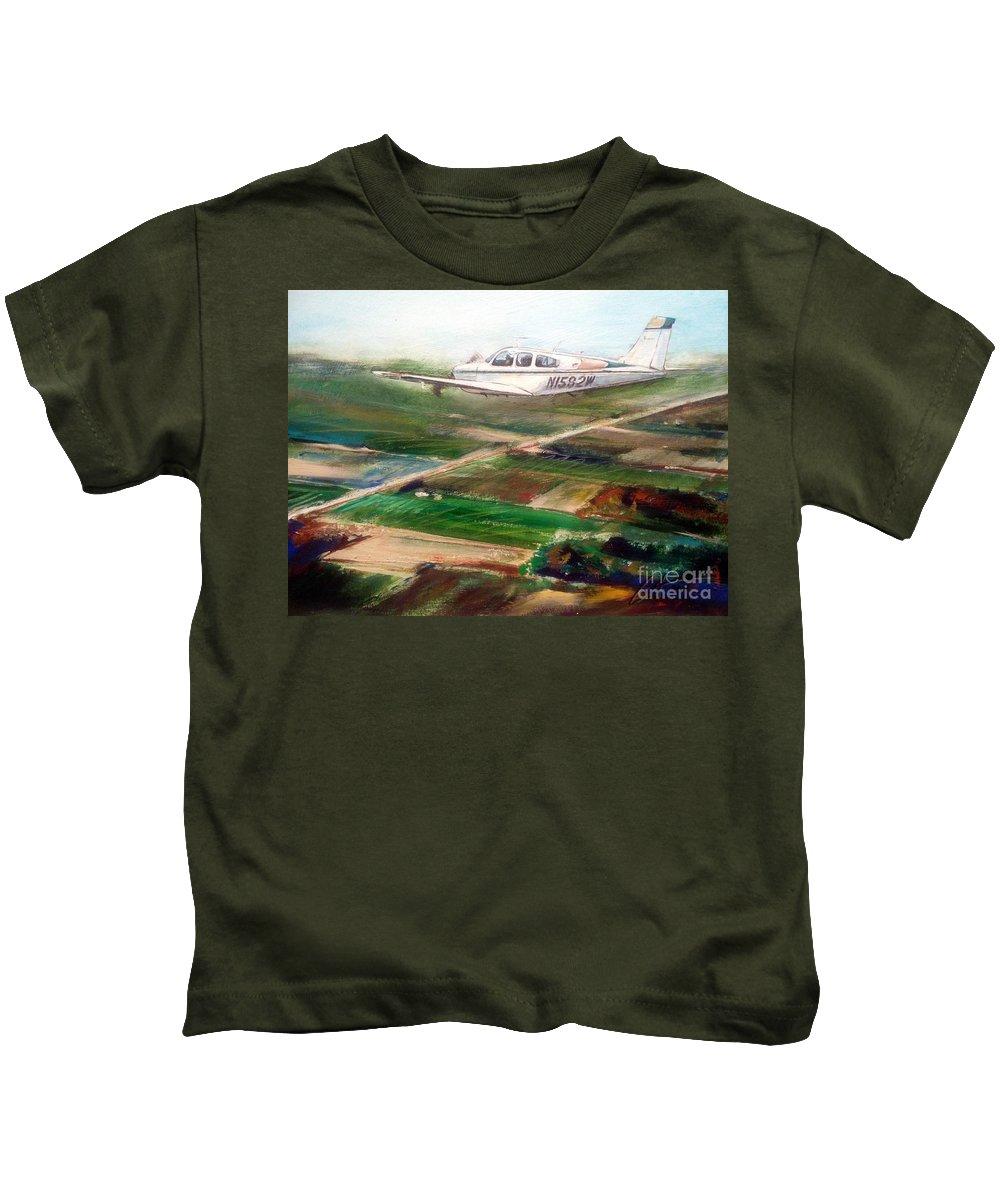 Airplane Kids T-Shirt featuring the painting Beechcraft Bonanza by William III