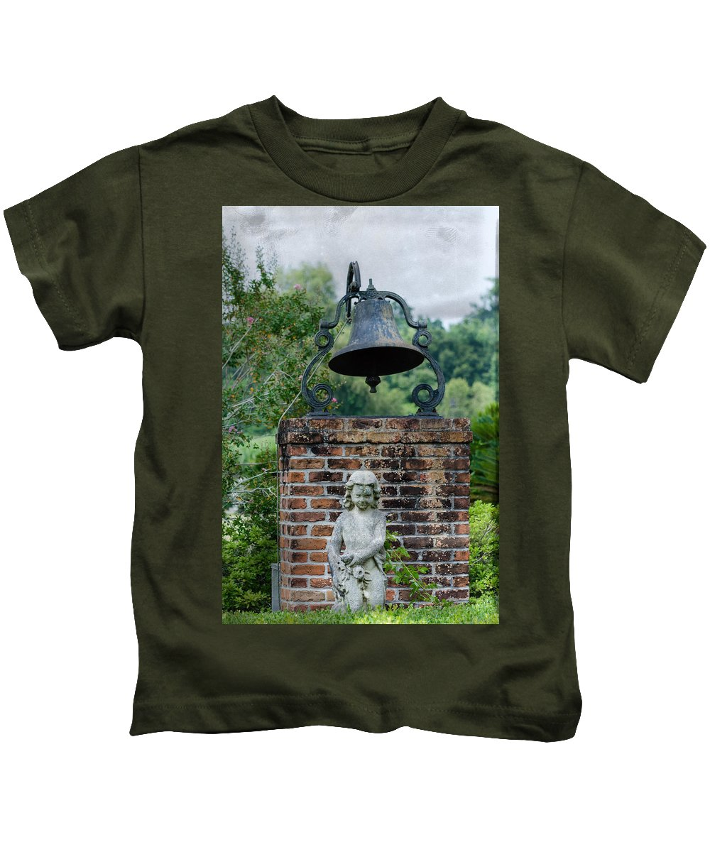 Bell Kids T-Shirt featuring the photograph Bell Brick And Statue by Jim Shackett