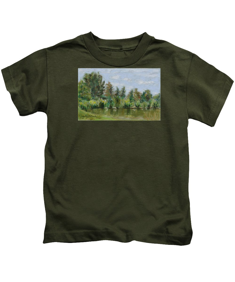 Nature Kids T-Shirt featuring the painting Benson Sculpture Park by Mary Benke