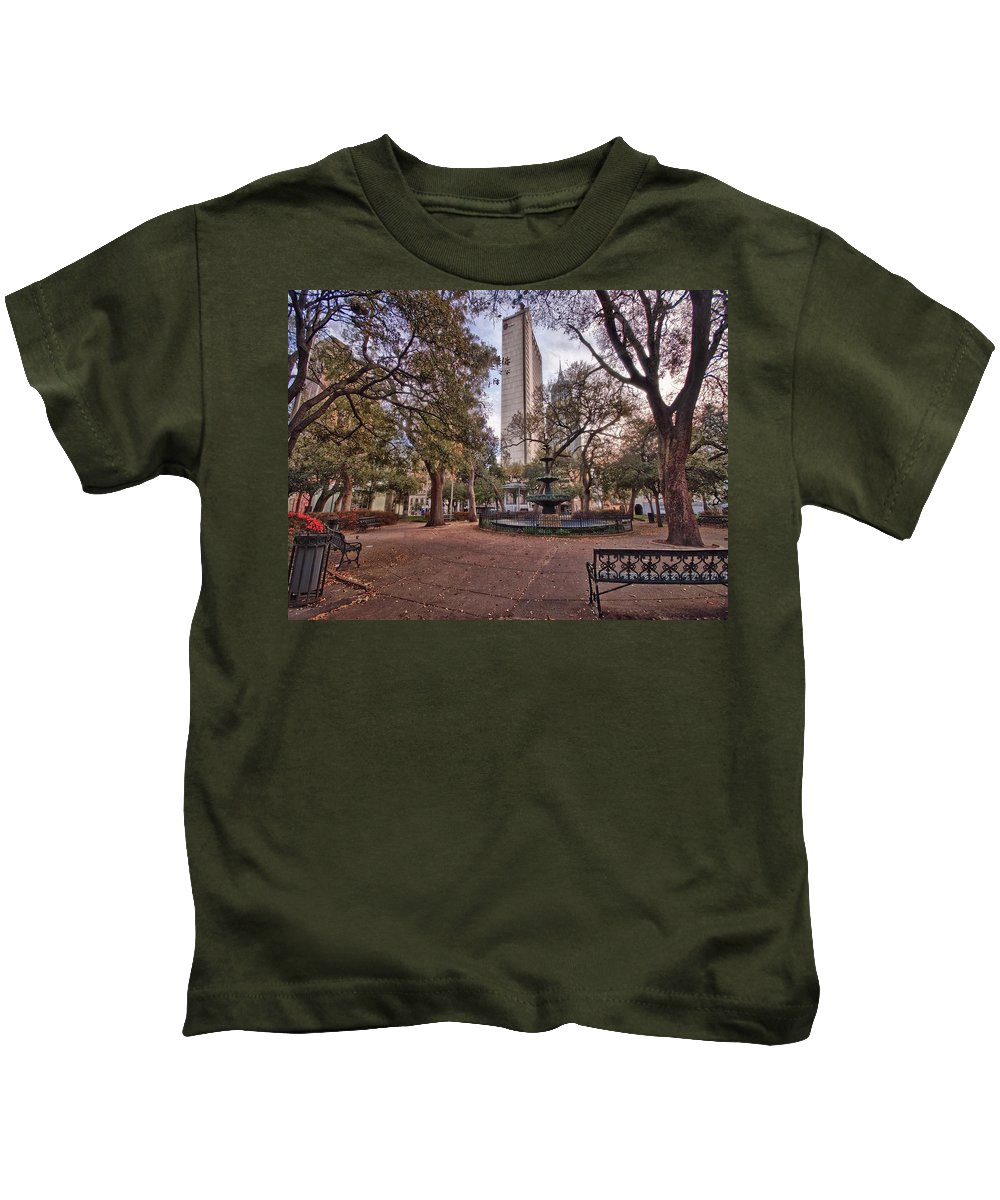 Kids T-Shirt featuring the digital art Bienville Spring With Benches by Michael Thomas