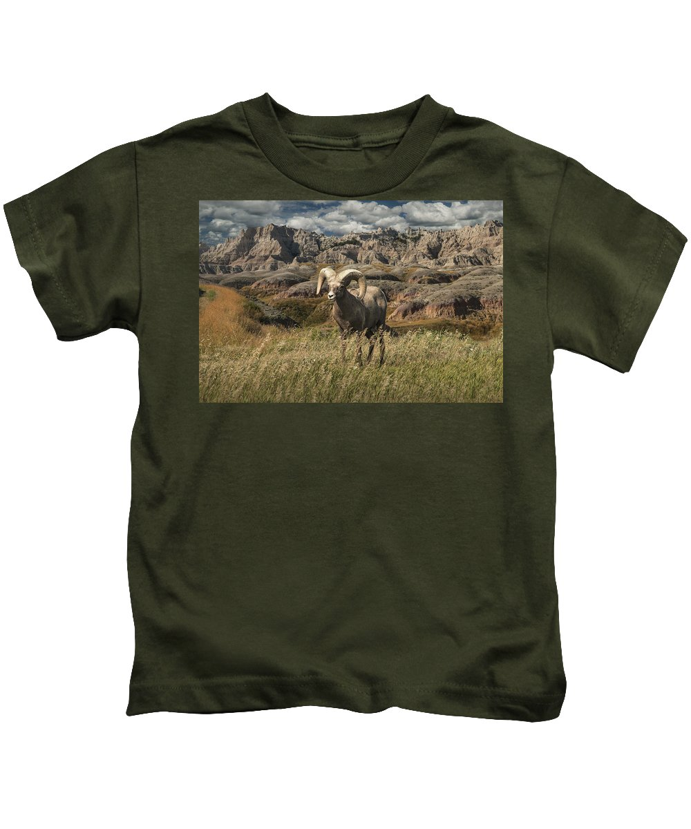 Art Kids T-Shirt featuring the photograph Bighorn Ram In The Badlands by Randall Nyhof