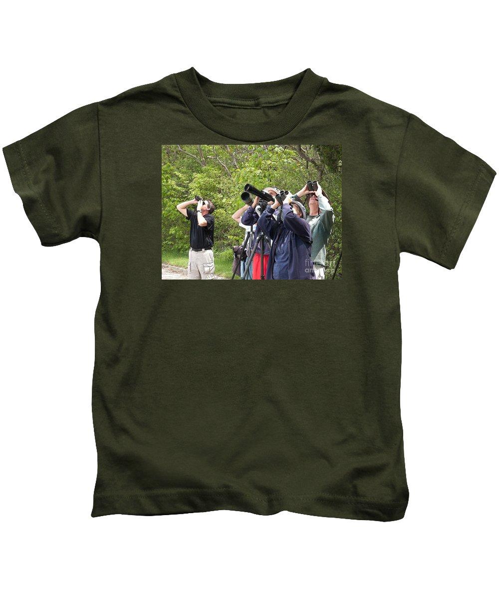 Birders Kids T-Shirt featuring the photograph Birders by Ann Horn
