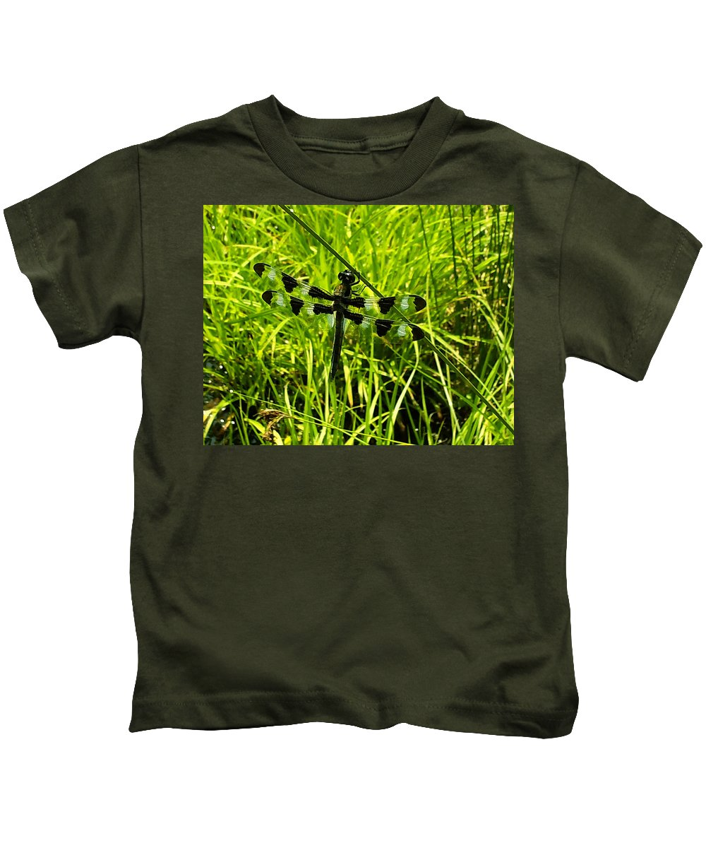Dragonfly Kids T-Shirt featuring the digital art Black And White Winged Dragonfly by Chris Flees