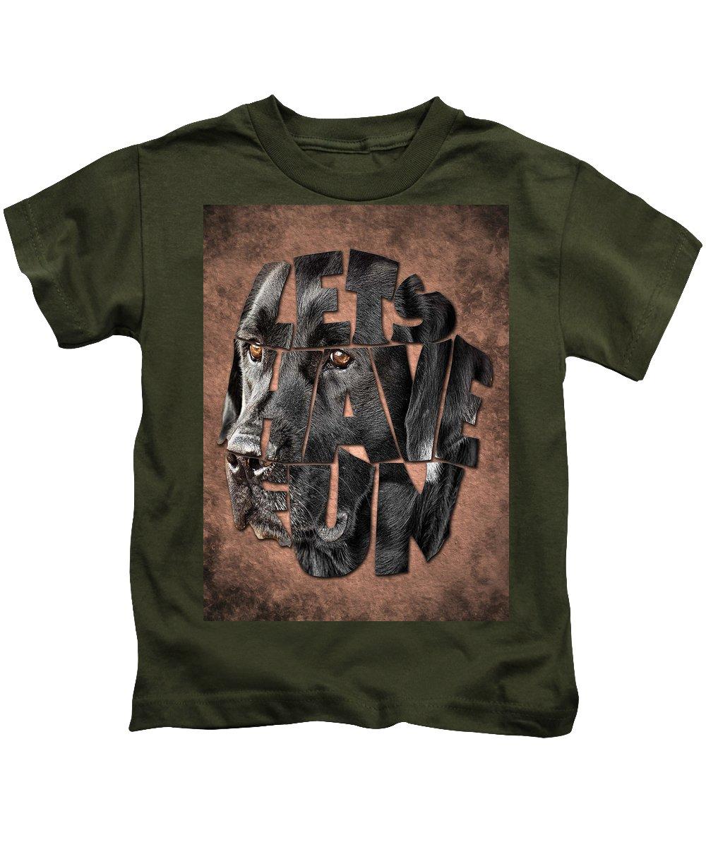 Black Labrador Typography Kids T-Shirt featuring the painting Black Labrador Typography Artwork by Georgeta Blanaru