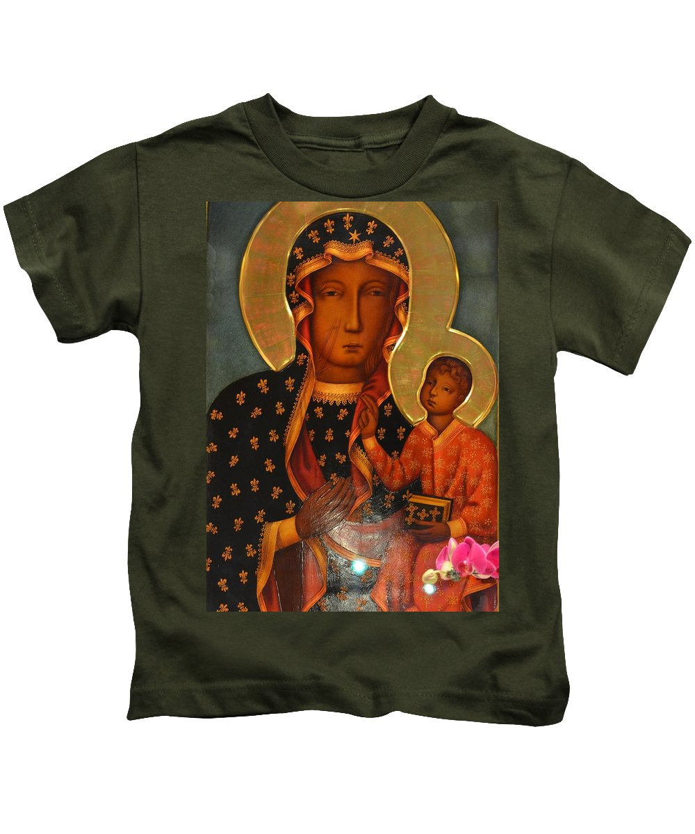 Black Kids T-Shirt featuring the painting Black Madonna Of Czestochowa by Philip Ralley