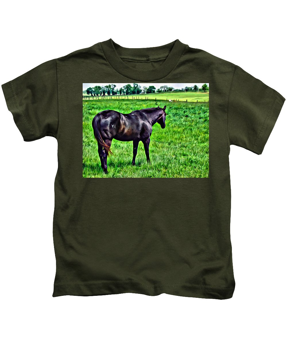 Stallion Kids T-Shirt featuring the photograph Black Stallion In Pasture by Alice Gipson